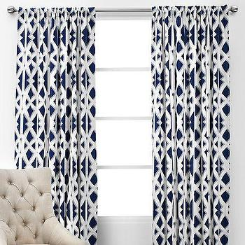 Window Treatments - Elton Panels | Z Gallerie - navy and white geometric drapes, navy and white geometric curtains, sapphire blue and white geometric patterned drapes, sapphire blue and white modern drapes, sapphire blue and white contemporary curtains,