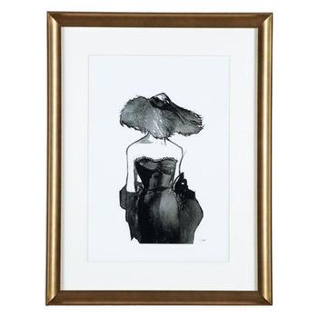 Art/Wall Decor - Dior Dame | Z Gallerie - black and white figurative art, black and white figurative framed art, framed black and white art, black and white fashion art with gold frame,