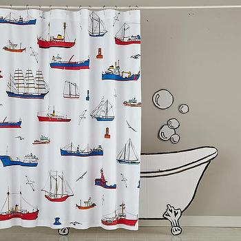 Bath - Maritime Shower Curtain | The Land of Nod - nautaical shower curtain, boat print shower curtain, boat motif shower curtain, red white and blue nautical shower curtain, sailing motif shower curtain,