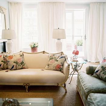 Lonny Magazine - living rooms - french settee, vintage settee, chinoiserie pillows, vintage sofa, green sofa, vintage green sofa, glass top coffee table, sofa table, pierced lamp, pierced table lamp, eclectic living room, vintage end tables,