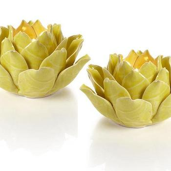 Decor/Accessories - Fleur Tealight - Lemon | Z Gallerie - yellow flower shaped candle holder, yellow flower shaped tealight holder, yellow floral candle holder,
