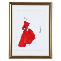 Art/Wall Decor - Dior Paris | Z Gallerie - framed fashion art, figurative framed art, red dress framed art, black and white lady in red dress framed art,