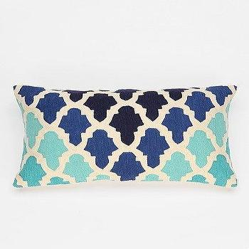 Pillows - Magical Thinking Flourish Tile Pillow I Urban Outfitters - blue moroccan tile patterned pillow, embroidered geometric tiled blue pillow, rectangular blue moroccan pattern pillow,