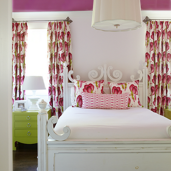 Jan Ware Designs - girl's rooms: fuchsia ceiling, kids ceiling, kids room ceiling, purple ceiling, scallop chandelier, scallop pendant, lighting over bed, kids room, kids bedrooms, girls room, girls bedroom, white painted bed, scroll bed, white scroll bed, modern floral pillows, pink and green pillows, pink and green floral pillows, geometric lumbar pillow, pink lumbar pillow, green nightstand, lime green nightstand, 3 drawer nightstand, green bedside table, bungalow 5 nightstand, nightstand below window, nightstand under window, pink bedskirt, kids bedskirts, ruffle bedskirt, ruffled bedskirts, pink ruffle bedskirt, pink ruffled bedskirt, hot pink bedskirt, modern floral curtains, floral curtains, pink and green curtains, pink and green drapes, pale pink walls,