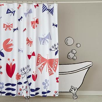 Bath - Wildflower Shower Curtain | The Land of Nod - pink and blue butterfly shower curtain, butterfly shower curtain, pink and blue butterfly and flowers shower curtain,