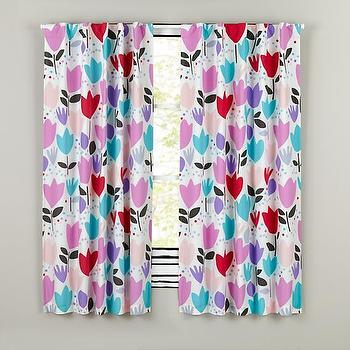 Window Treatments - Brightly Colored Tulip Print Curtain Panel | The Land of Nod - pink purple and blue girls drapes, multi colored floral drapes, tulip print drapes, multi colored floral curtains, pink blue and purple floral curtains,