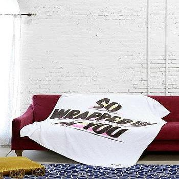 Bedding - Baron Von Fancy X UO She Loves Me Throw Blanket I Urban Outfitters - so wrapped up in you blanket, white blanket with so wrapped up in you motif, so wrapped up in you white blanket,