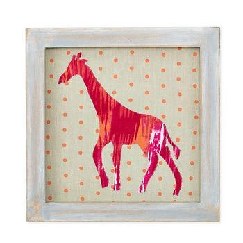 Art/Wall Decor - Bold Pattern Giraffe Framed Wall Art | The Land of Nod - pink and orange framed giraffe art, pink giraffe print with orange polka dot background, pink and orange giraffe framed art,