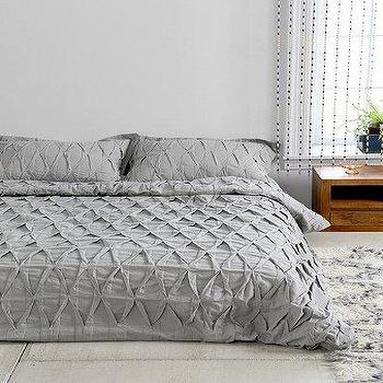 Bedding - Plum & Bow Pinch-Pleat Duvet Cover I Urban Outfitters - gray pinch pleat bedding, textured gray bedding, textured gray duvet cover, gray pinch pleat duvet cover,