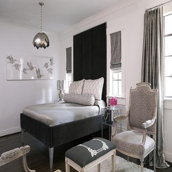 Gray duvet transitional bedroom jennifer worts design for Velvet bedroom designs