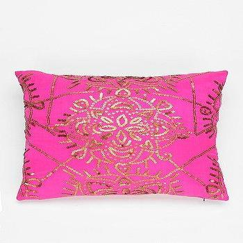 Pillows - Magical Thinking Star Medallion Pillow I Urban Outfitters - pink and gold pillow, hot pink pillow with gold sequins, pink pillow with metallic gold sequins, pink pillow with gold sequinned medallion pattern,