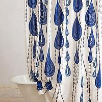 Bath - Jardin Des Plantes Shower Curtain I anthropologie.com - indigo blue and white shower curtain, indigo blue and white water droplet shower curtain, water drop motif blue and white shower curtain,