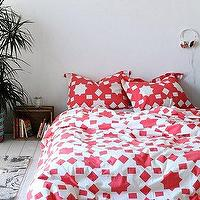 Bedding - Magical Thinking Star Block Duvet Cover I Urban Outfitters - coral pink and white star patterned bedding, coral pink and white bedding, coral pink and white duvet cover, coral pink and white star block motif bedding,