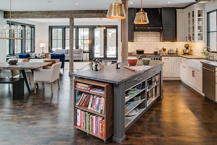 kitchen island with bookcase transitional kitchen