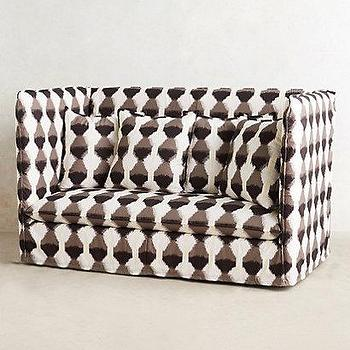 Seating - Patterned Continental Sofa I anthropologie.com - black white and taupe sofa, black white and taupe patterned sofa, high backed geometric patterned sofa,