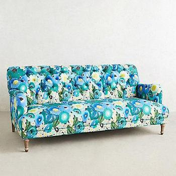 Seating - Orianna Sofa I anthropologie.com - blue floral sofa, vintage style blue sofa, rolled arm blue floral sofa,