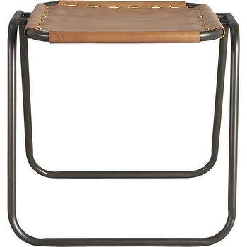 Seating - surplus stool | CB2 - brown leather and metal stool, modern leather and metal stool, brown leather stool with iron frame,