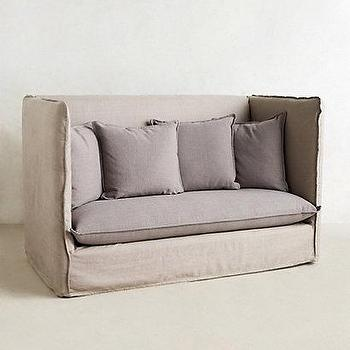 Seating - Continental Sofa I anthropologie.com - two tone linen sofa, two tone gray sofa, modern gray linen sofa, modern linen sofa with flange seams,