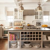 Amazing kitchen with light taupe kitchen island featuring open shelving and ...