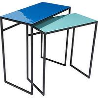 Tables - neptune tables set of two | CB2 - blue enameled tables, aqua blue enamel table, iron based side table with blue top,