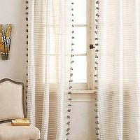 Window Treatments - Reise Curtain I anthropologie.com - pom pom trimmed gray and white drapes, pom pom trimmed gray and white curtains, gray and white striped curtains with pom pom trim, gray and white striped drapes with pom pom trim,