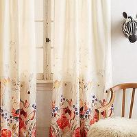 Window Treatments - Garden Buzz Curtain I anthropologie.com - floral drapes, floral curtains, ivory drapes with floral border, ivory curtains with floral border,