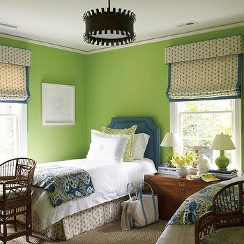 Lindsey Coral Harper - girl's rooms - Benjamin Moore - Stem Green - twin bed bedroom, twins room, blue and green bedroom, shared bedroom, shared nightstand, shared nightstand, sisal carpet, wall to wall sisal carpet, vase of flowers, lamp on stacked books, lamp elevated by stacked books, stacked books, apple green walls, apple green wall color, granny smith apple wall color, rattan chair, chinese chippendale rattan chair, chinese rattan chair, sash window, window valance, window box valance, blue and cream paisley roman shade, blue and cream paisley bed skirt, bed skirt matching drapes, bed skirt matching curtains, trunk nightstand, wooden trunk as nightstand, blue and green ikat bedding, blue and green ikat blanket, blue cut corner headboard, white monogrammed bedding, white monogrammed bed linens, white monogrammed duvet, green and cream geometric euro shams, bronze pendant light, bronze pendant, bronze colored pendant light, apple green bedroom walls, paisley roman shade with blue trim, twin blue headboards, twin bed bedroom ideas, twin bed bedroom layout, green walls, green wall color, ikat bedding, ikat throw, apple green paint colors,