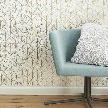 Wallpaper - crumpled trees metallic traditional paste wallpaper | CB2 - gold and white tree wallpaper, gold and white tree print wallpaper, modern gold and white forest wallpaper,