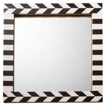 Miscellaneous - Threshold Herringbone Mirror Black/Ivory I Target - square shaped black and white herringbone mirror, square bone inlay style mirror, black and ivory herringbone framed mirror,