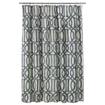 Bath - Threshold Fretwork Shower Curtain - Gray I Target - gray and white fretwork shower curtain, gray and white geometric shower curtain, gray and white lattice print shower curtain,
