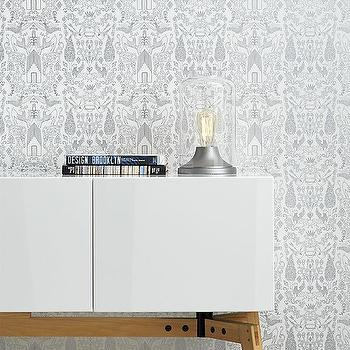 Wallpaper - nethercote silver traditional paste wallpaper | CB2 - whimsical animal wallpaper, silver animal wallpaper, metallic silver animal wallpaper,