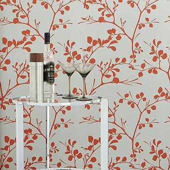 Wallpaper - lilt self-adhesive wallpaper | CB2 - gray and orange floral wallpaper, gray and orange branch patterned wallpaper, gray and orange self adhesive wallpaper, gray and orange self adhesive branch patterned wallpaper,