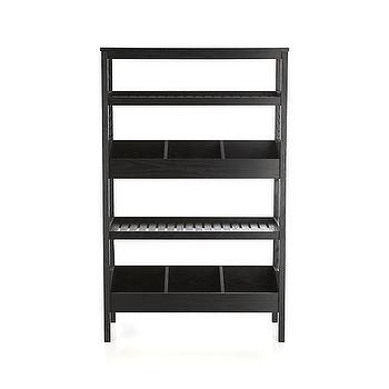 Storage Furniture - Seville Black Open Shelf Unit | Crate and Barrel - black open shelf, modern black open shelves, modern black freestanding shelves,