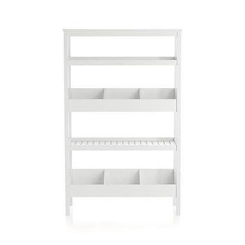 Storage Furniture - Seville White Open Shelf Unit | Crate and Barrel - white open shelves, modern white open shelves, modern white freestanding shelves,