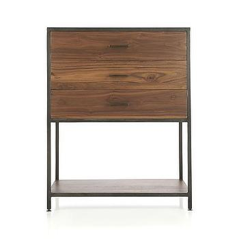 Storage Furniture - Knox Low Storage Bookcase | Crate and Barrel - walnut and iron bookcase, modern walnut and iron bookcase, low storage bookcase with iron frame and walnut drawer fronts,