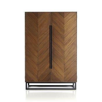 Storage Furniture - Estilo Cabinet | Crate and Barrel - modern chevron cabinet with iron frame, chevron wood and iron cabinet, iron framed cabinet with chevron teak door fronts,