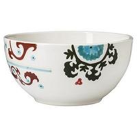 Decor/Accessories - Threshold Handpaint Mila Round Cereal Bowl Set I Target - suzani patterned cereal bowl, hand painted suzani bowl, suzani patterned bowl, red and blue suzani patterned bowl,