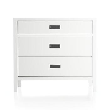 Storage Furniture - Arch White Three-Drawer Chest | Crate and Barrel - white three drawer chest, white three drawer chest with inset antiqued brass pulls, white 3 drawer chest, contemporary white chest with inset pulls,