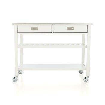 Storage Furniture - Sheridan White Kitchen Island | Crate and Barrel - white kitchen island on castors, stainless steel topped white kitchen island, drop leaf white kitchen island, white kitchen island on castors with open shelves, white kitchen island with open shelving,