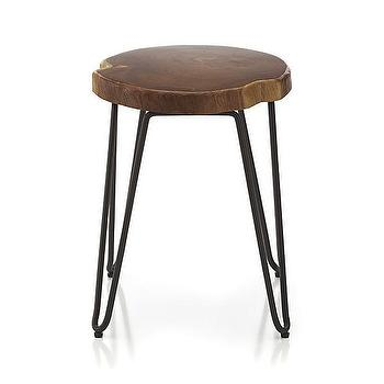 Seating - Origin Stool I Crate and Barrel - teak and iron stool, iron and wood stool with hairpin legs, hairpin legged stool, teak stool with iron base,