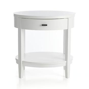 Tables - Arch White Oval Nightstand | Crate and Barrel - white oval nightstand, white single drawer nightstand, white oval shaped nightstand with antique brass pull,