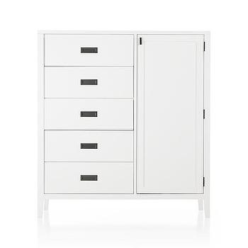 Storage Furniture - Arch White Chifforobe | Crate and Barrel - white armoire with inset pulls, white chifforobe, contemporary white armoire, white armoire with inset antiqued brass pulls,