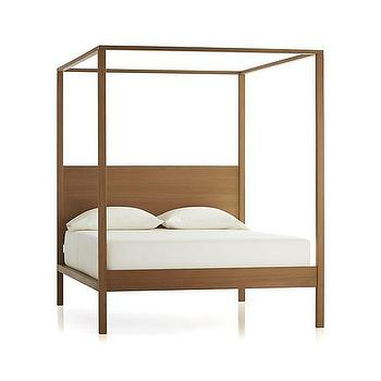 Beds/Headboards - Osborn 4-Poster Queen Bed | Crate and Barrel - contemporary four poster bed, teak four poster bed, modern teak four poster bed, contemporary wooden 4 poster bed, minimalist 4 poster bed,