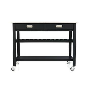 Storage Furniture - Sheridan Black Kitchen Island | Crate and Barrel - black kitchen island on castors, black kitchen island with stainless steel counter, black kitchen island with open shelves, black kitchen island with drop leaf counter, stainless steel topped black kitchen island on castors,