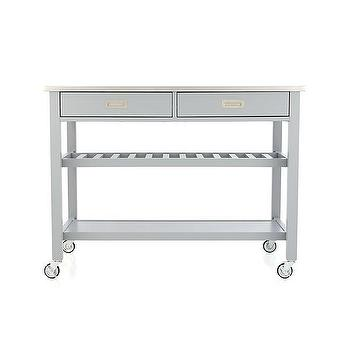 Storage Furniture - Sheridan Grey Kitchen Island | Crate and Barrel - gray kitchen island on castors, gray kitchen island with stainless steel countertop, gray kitchen island with drop leaf counter, gray kitchen island with open shelves, gray kitchen with with stainless steel top,
