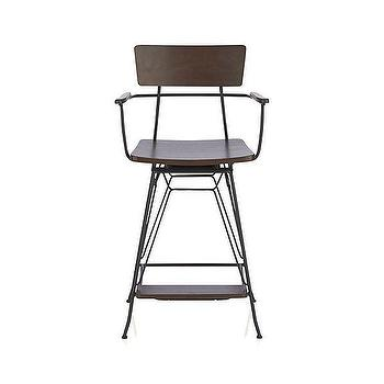 "Seating - Elston 24"" Swivel Counter Stool I Crate and Barrel - metal and walnut counter stool, contemporary swivel counter stool, modern swivel counter stool, modern metal and wood counter stool,"