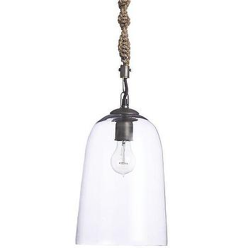Lighting - Corso Pendant | Crate and Barrel - glass dome shaped pendant, glass pendant with rope cord, modern glass pendant with woven cord, minimalist glass pendant light,