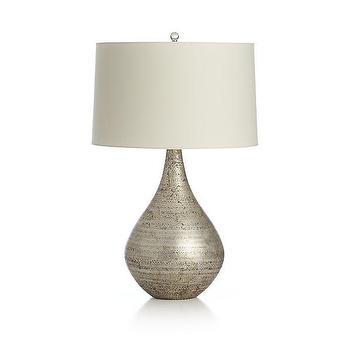 Lighting - Mulino Table Lamp | Crate and Barrel - silver leafed table lamp, teardrop shaped silver leaf table lamp, art glass teardrop shaped table lamp, contemporary silver leafed table lamp,