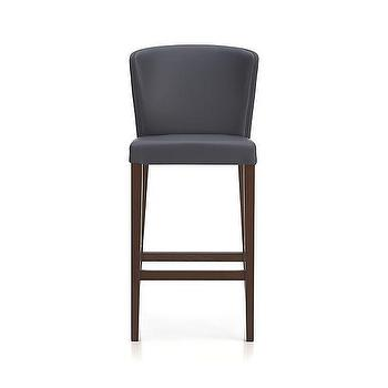 "Seating - Curran 30"" Gray Barstool I Crate and Barrel - gray barstool, gray wingback barstool, gray leather effect barstool, contemporary gray barstool, modern gray upholstered barstool,"