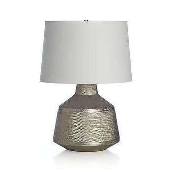 Lighting - Ancora Table Lamp | Crate and Barrel - hammered aluminum table lamp, hammered nickel plated table lamp, modern hammered metal table lamp, hammered nickel finish table lamp,